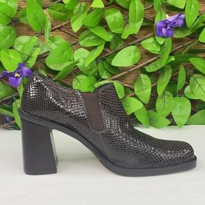 MIA Brown Faux  Snake Skin Square Toe Ankle Boot 8